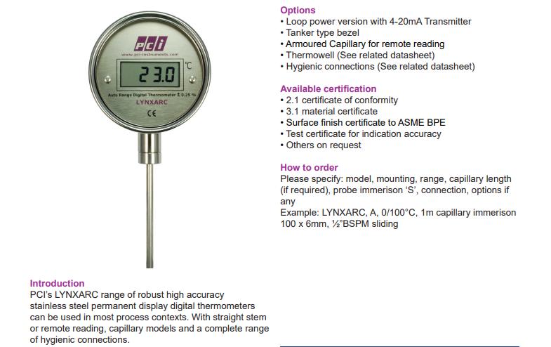 Nhiệt kế kỹ thuật số LYNXARC | PCI-Instrument Viet Nam