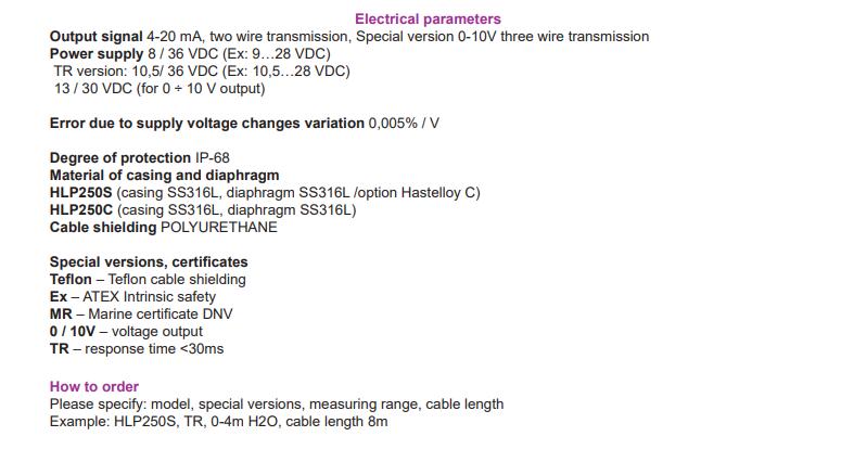 Đầu dò mức thủy tĩnh HLP250C và HLP250S | PCI-Instrument Viet Nam