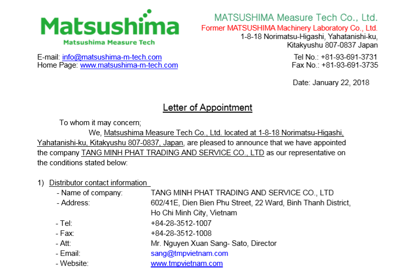 Đại lý Matsushima Việt Nam - Matsushima Viet Nam